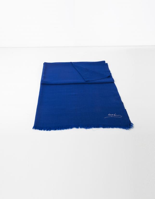 Foulard uni en laine bleu