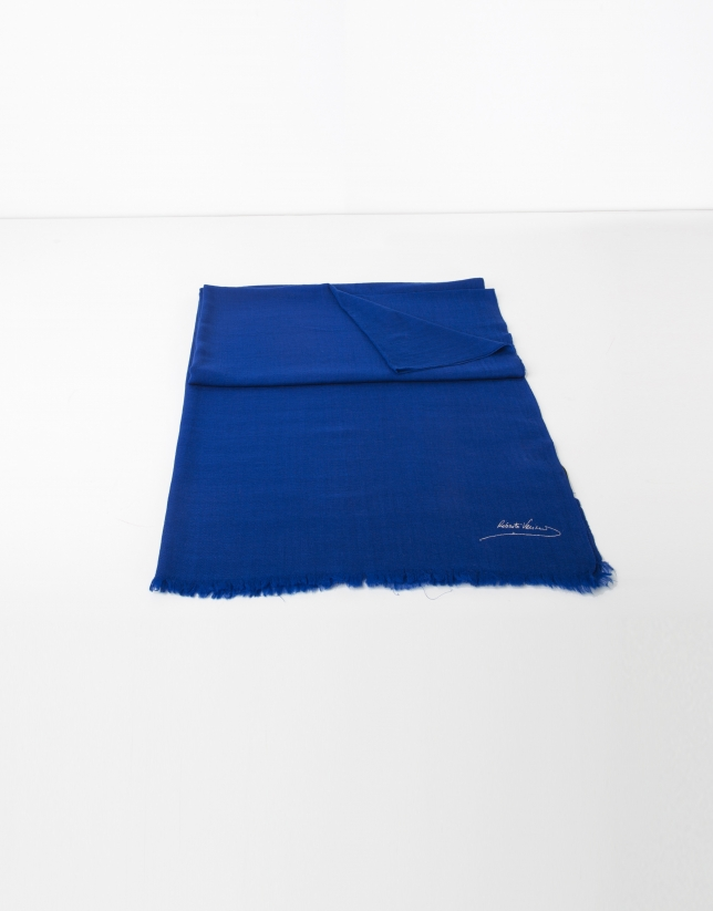Plain blue wool scarf