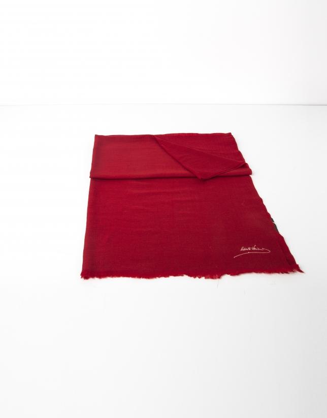 Foulard lana liso rojo