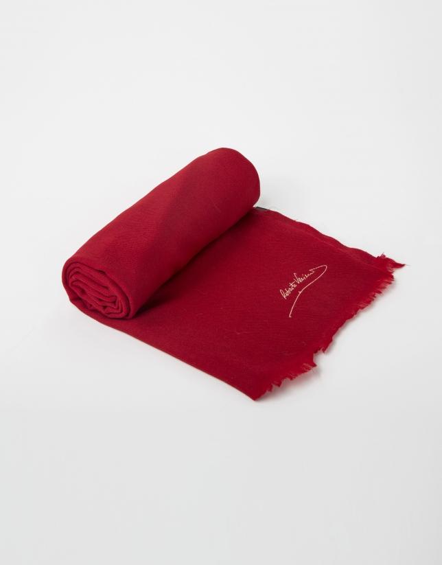 Foulard uni en laine rouge