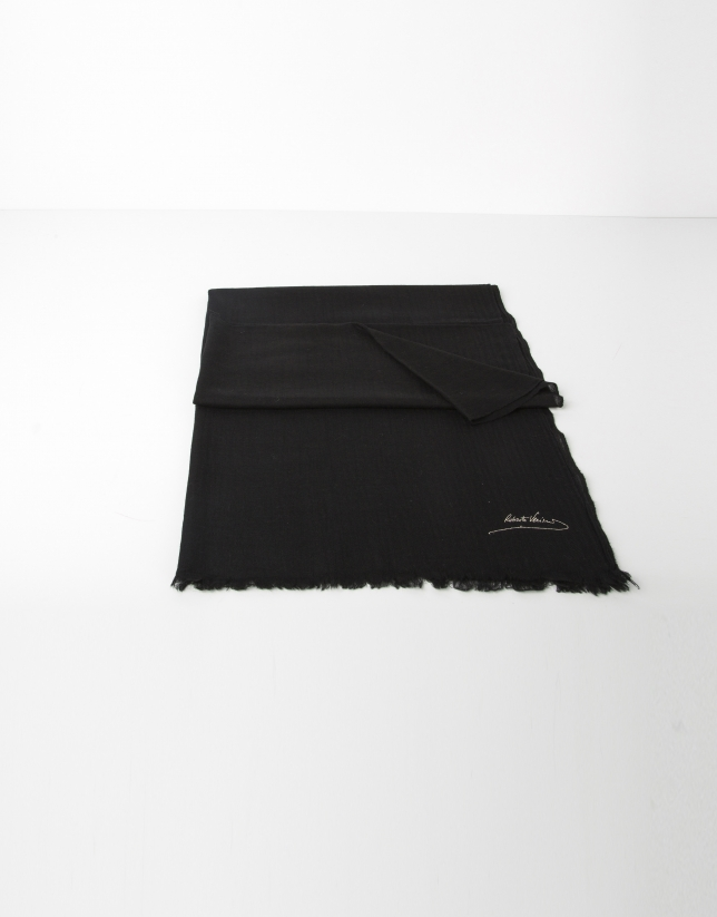 Foulard lana liso negro