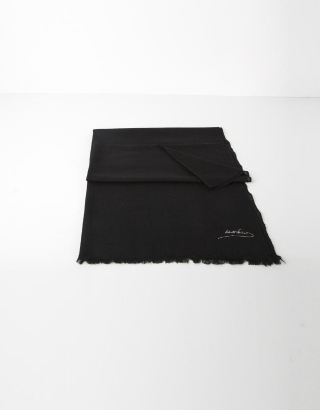 Foulard uni en laine noir
