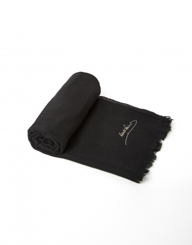 Plain black wool scarf