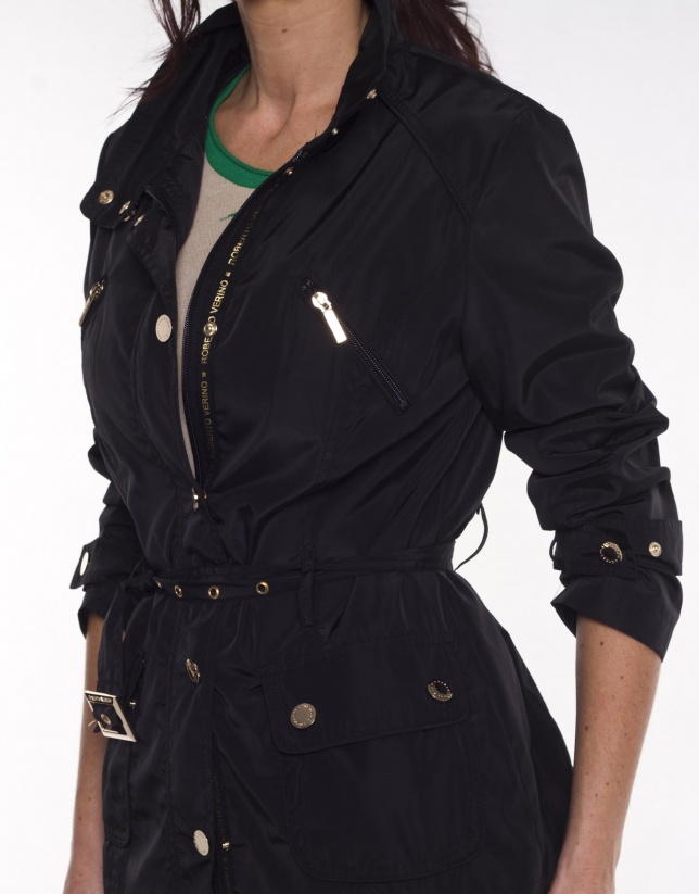 Long black trench