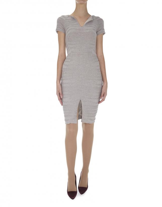 Beige knit short sleeved embossed dress