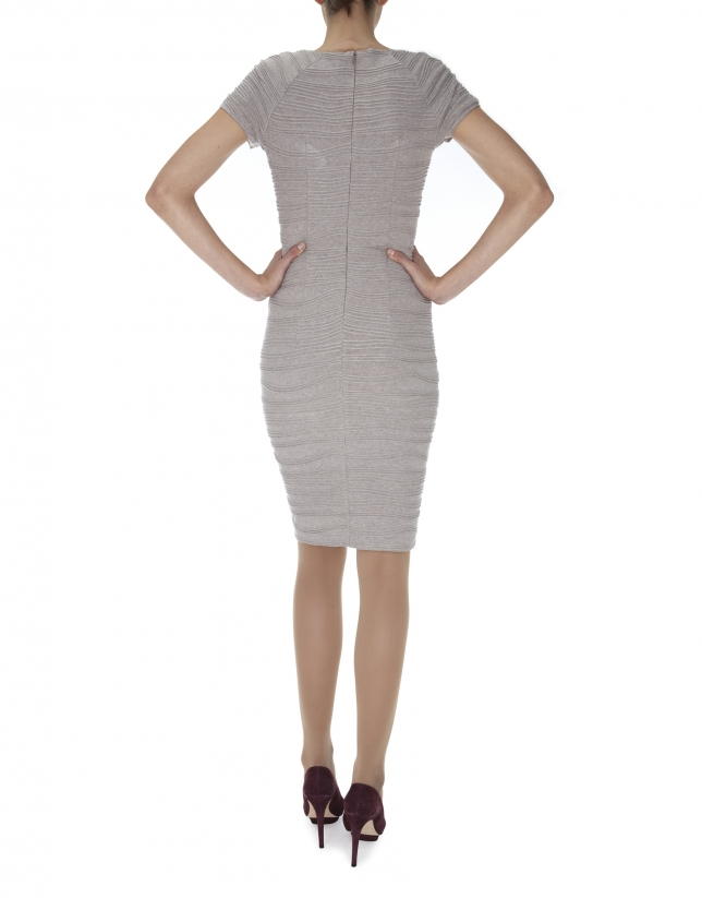 Beige knit short sleeved embossed dress