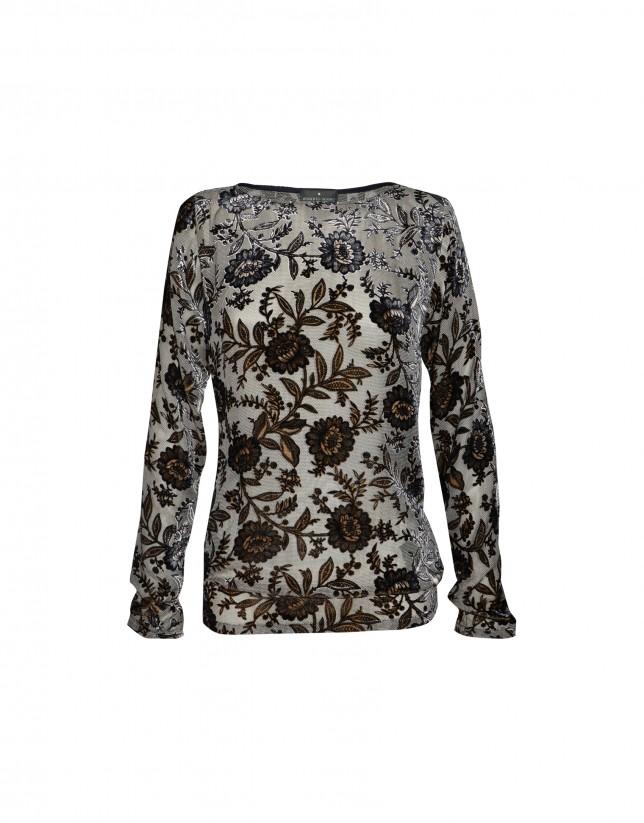 Blusa gasa seda gris y negro estampada