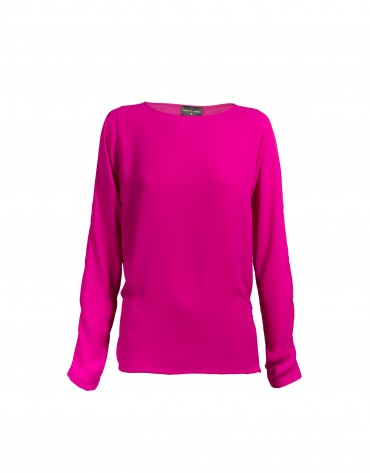 Fuchsia round neck blouse