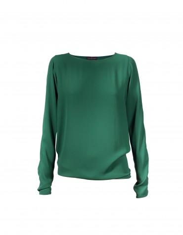 Dark green round neck blouse