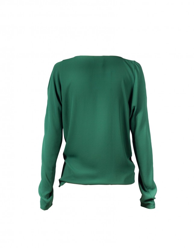 Dark green round neck blouse