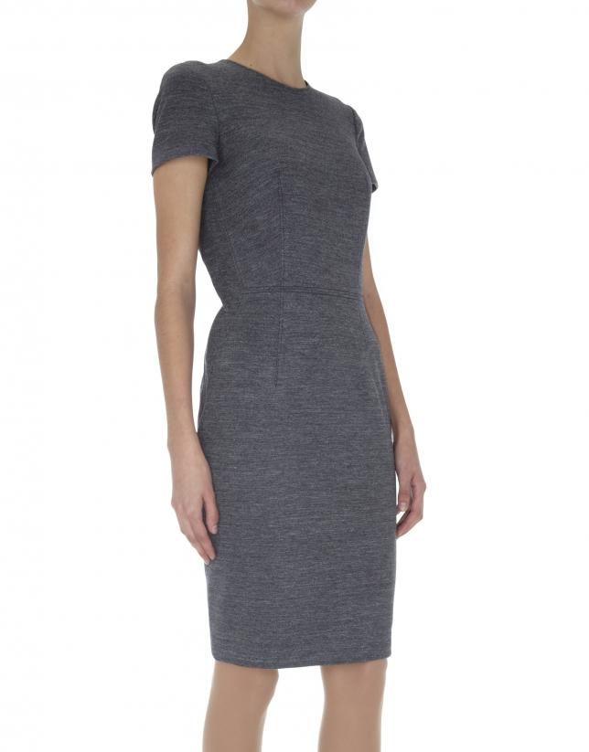 Gray knit straight dress