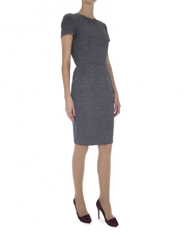 Gray knit straight dress