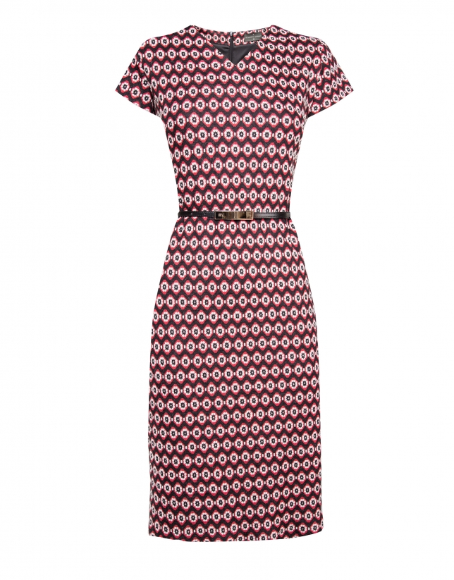 Short sleeved red geometric print dress