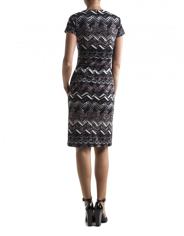 Vestido manga corta estampado zig-zag marrón