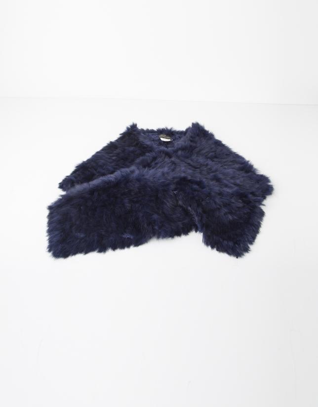 Blue fur collar