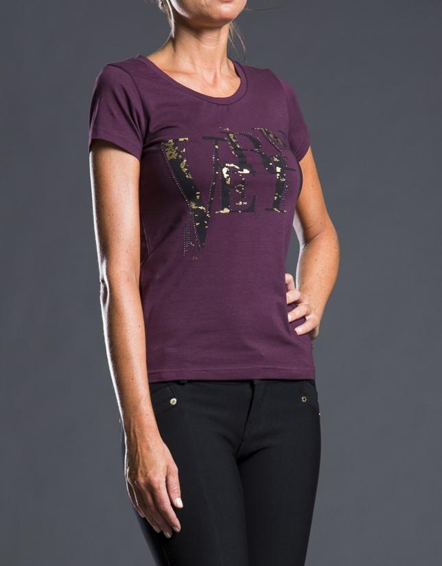 Tee-shirt fantaisie fuchsia avec logo RV