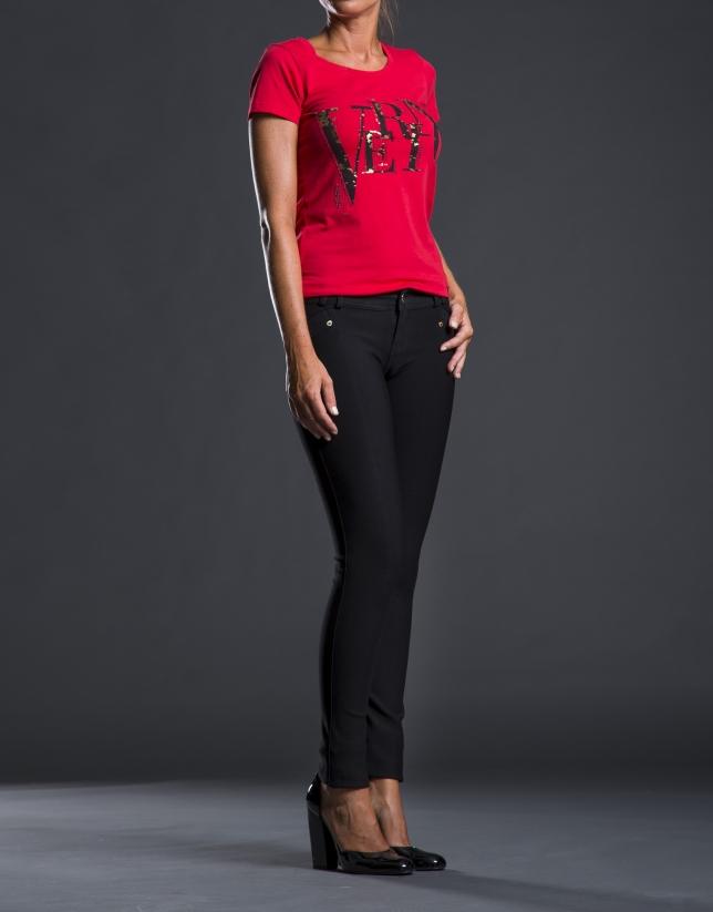 Tee-shirt fantaisie rouge avec logo RV