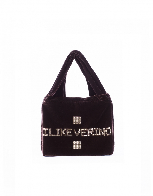 I LIKE VERINO: Velvet shopping with logo studs