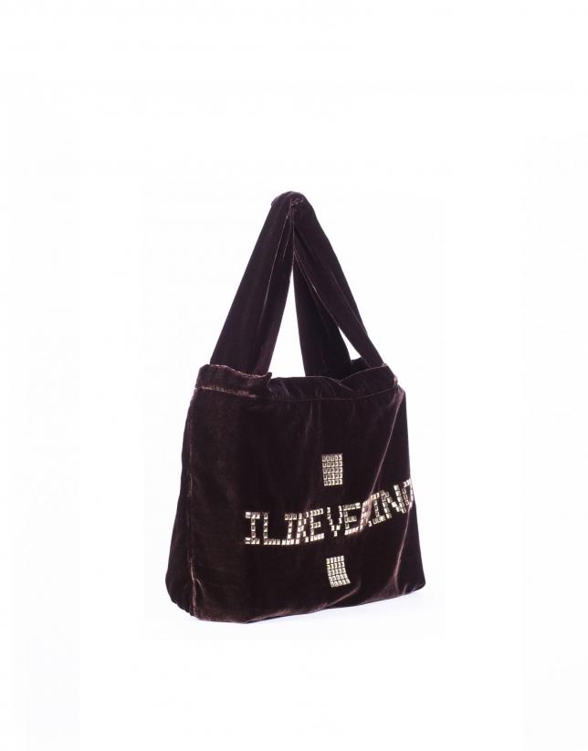 I LIKE VERINO: Shopping en terciopelo con logo en tachas