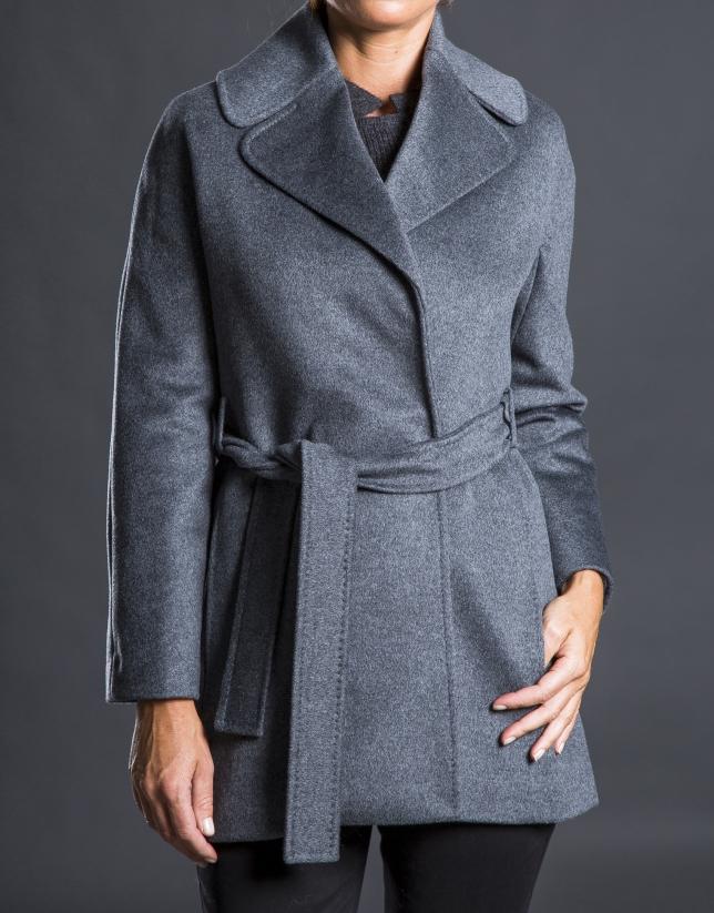 Manteau court croisé gris