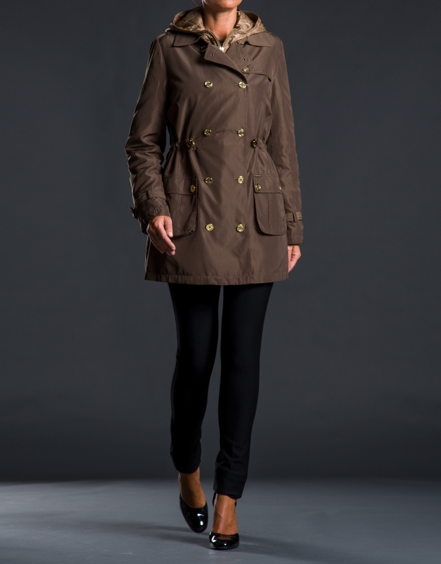 Brown trench coat with removable lining