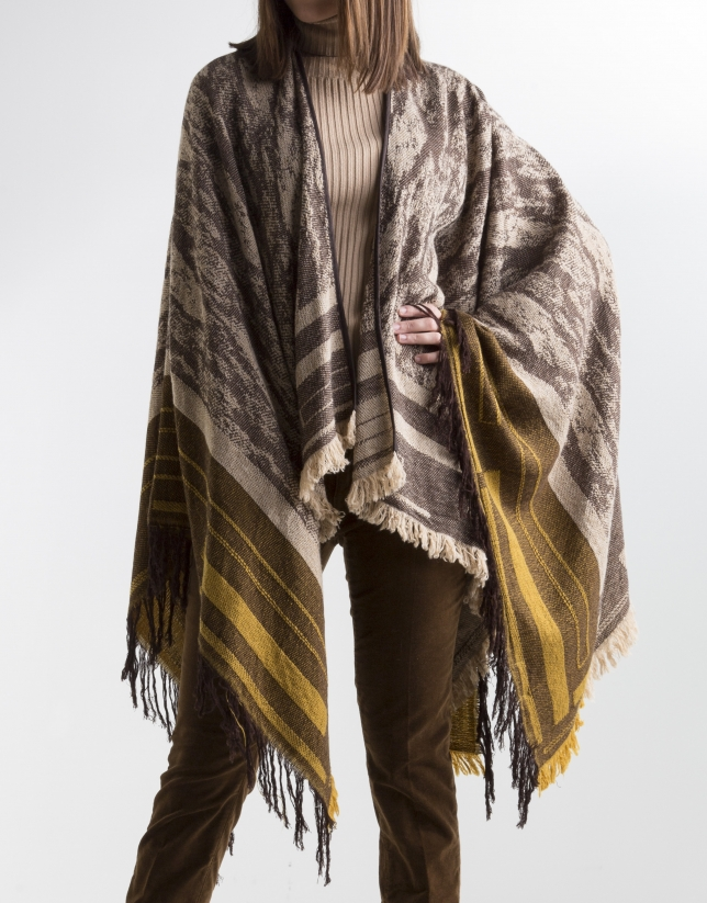 Brown wool poncho
