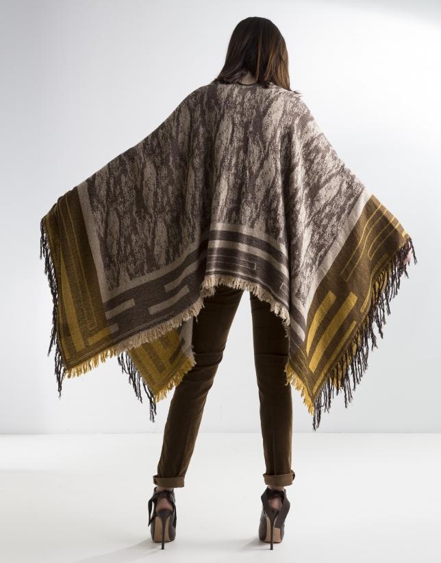 Brown wool poncho
