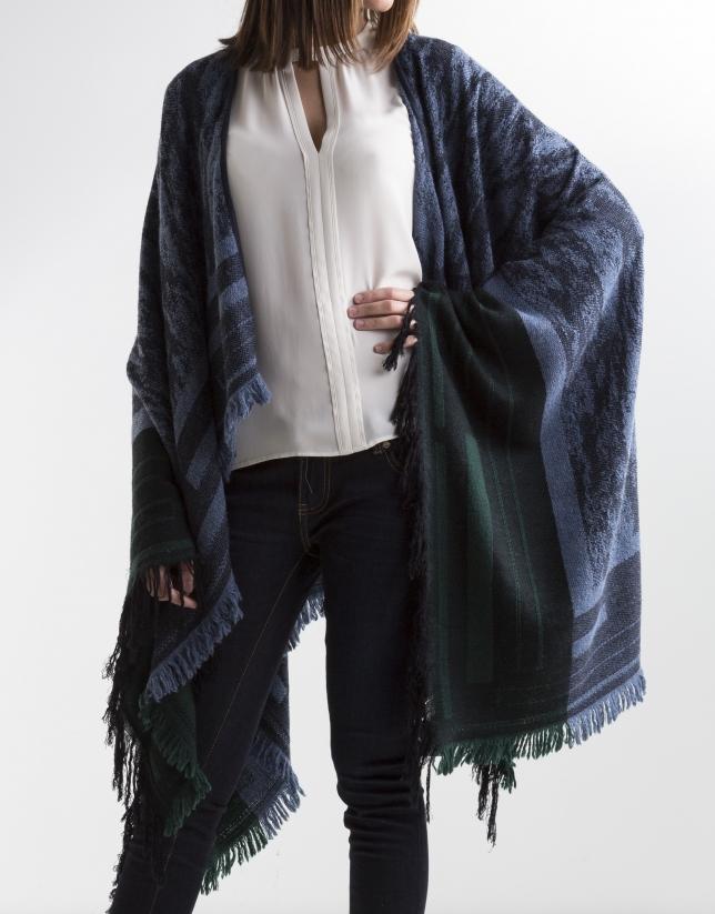 Poncho en laine bleu