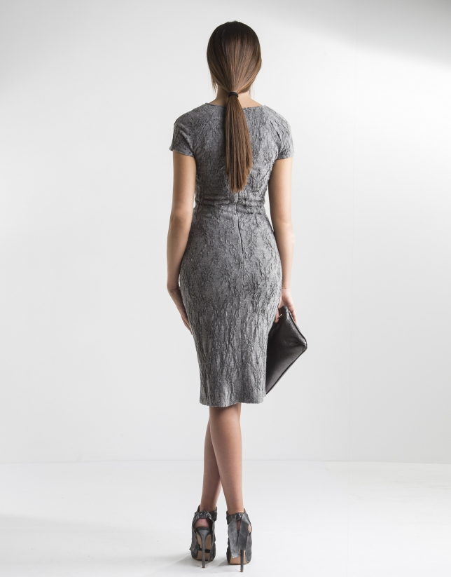 Grey dress with belt loops