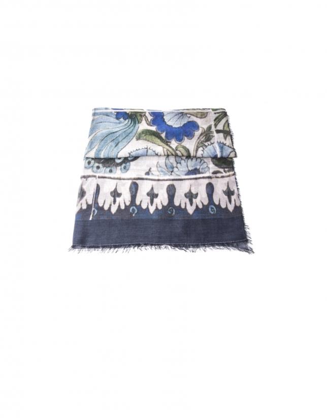 Blue peacock print scarf