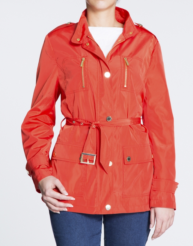 Geranium red short trench with Mao collar