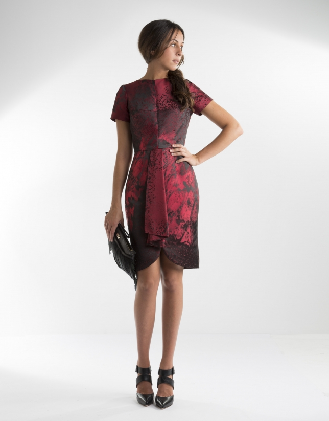Red print dress with front folds