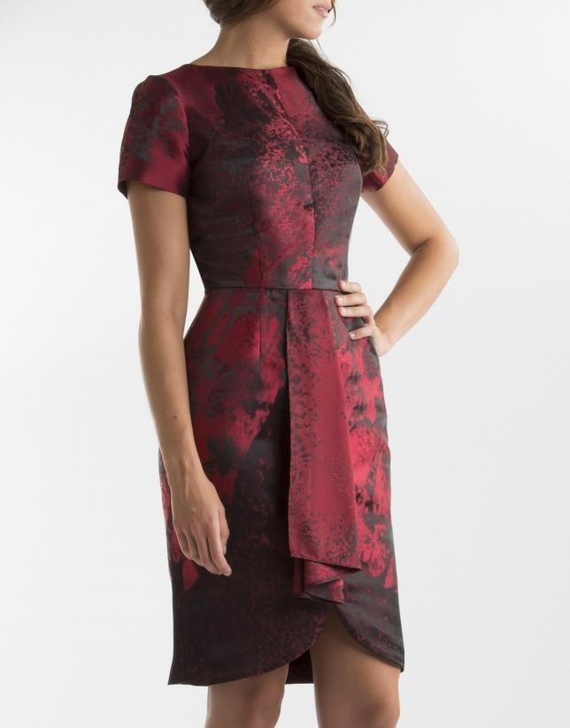 Vestido pliegue fantasía rojo
