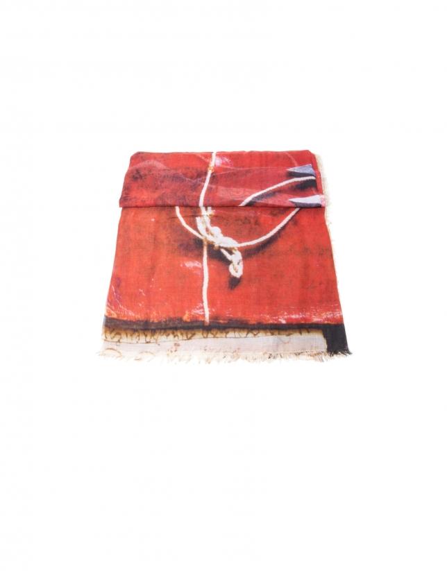 Foulard print tijeras tonos rojos