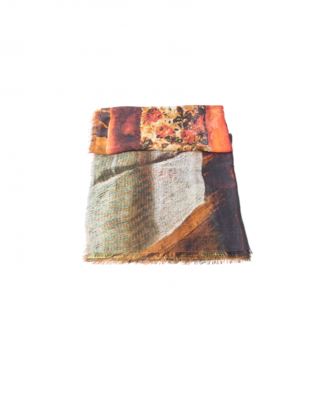 Blue and red canvas print scarf