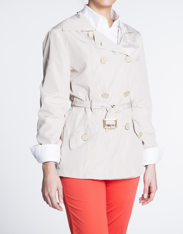 Beige gabardine with double row of buttons