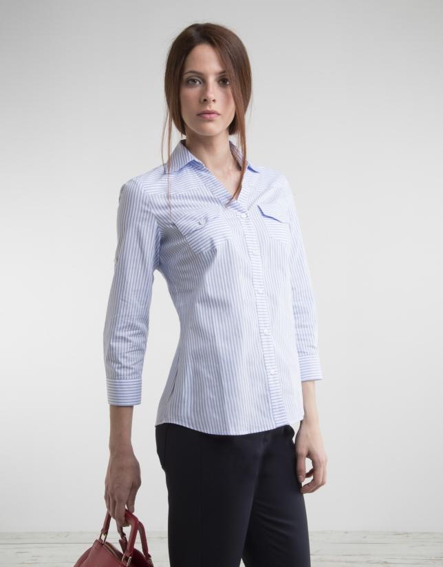 Camisa manga larga rayas azul