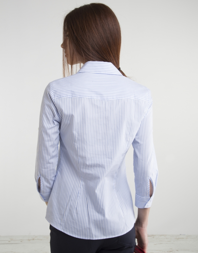 Blue striped, long sleeve shirt