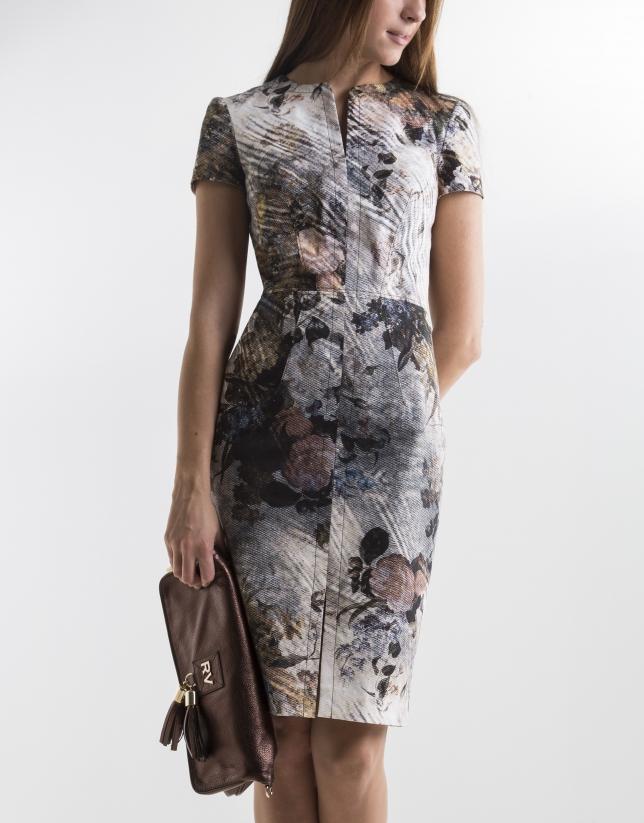 Short-sleeved floral print dress