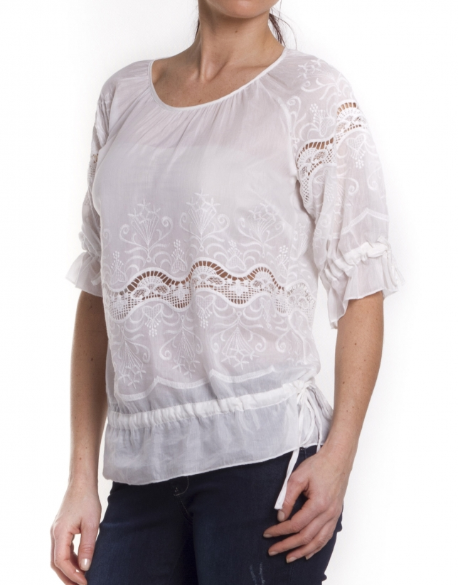 Silk-cotton shirt with lace