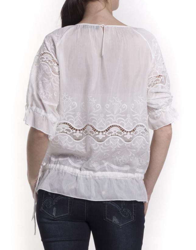 Camisa algodón-seda con encajes
