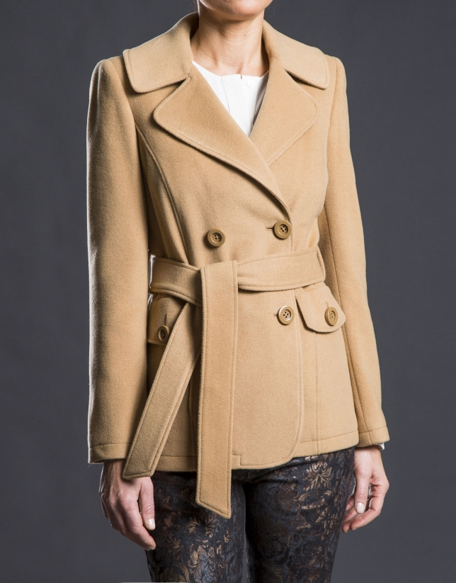 Double-breasted camel jacket with belt