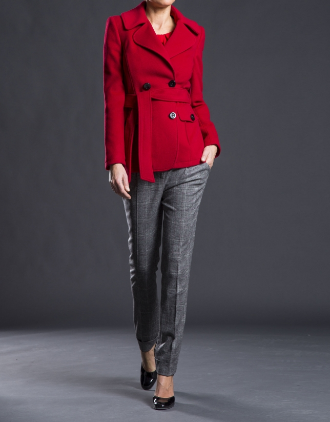 Double-breasted red jacket with belt