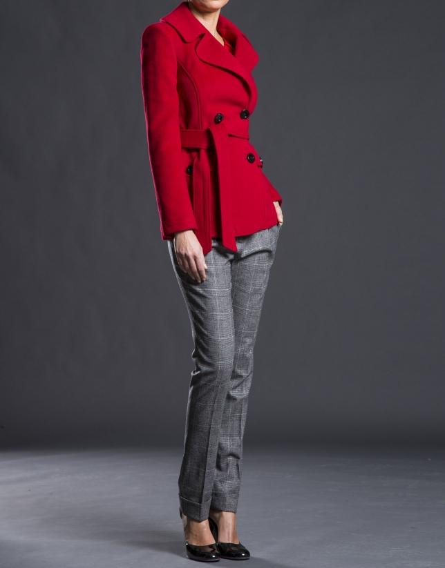 Chaquetón rojo cruzado cinturón