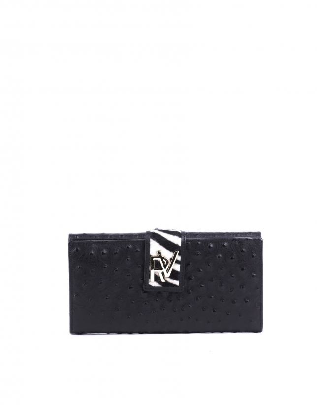 Embossed-ostrich leather wallet