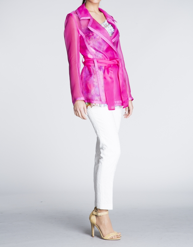 Coral transparent light jacket