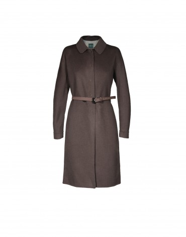 Brown belted wool coat