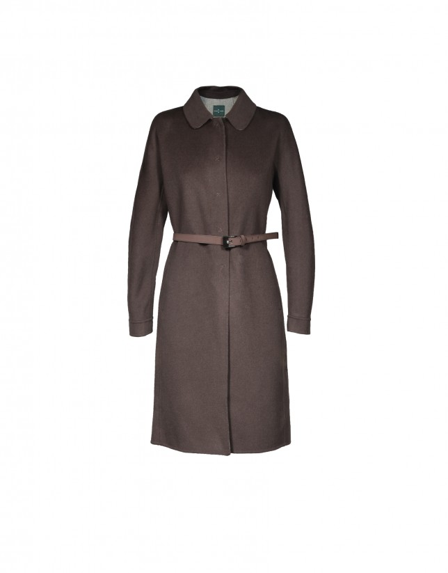 Brown belted wool coat