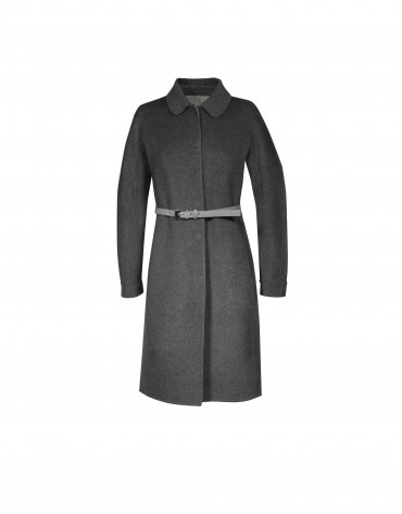 Grey belt wool coat