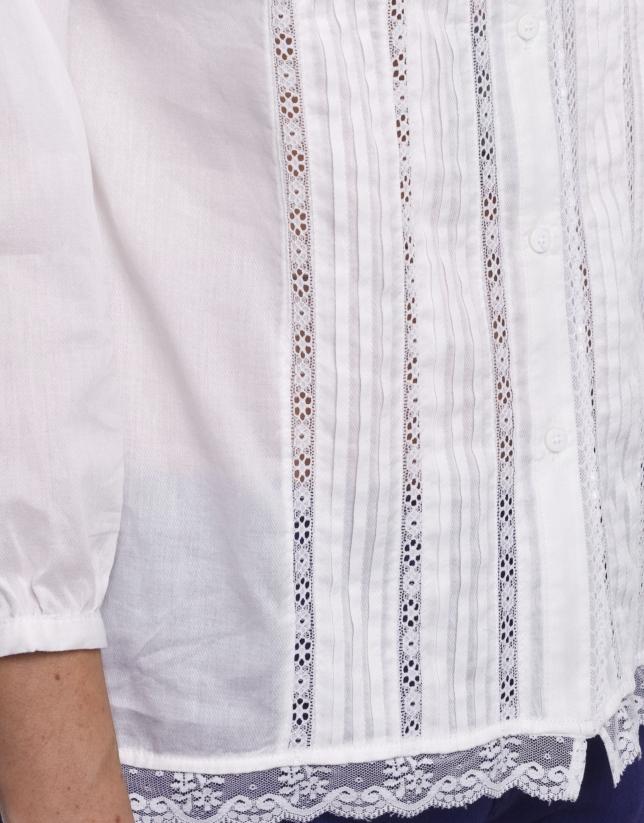 Chemise coton plissée avec dentelle